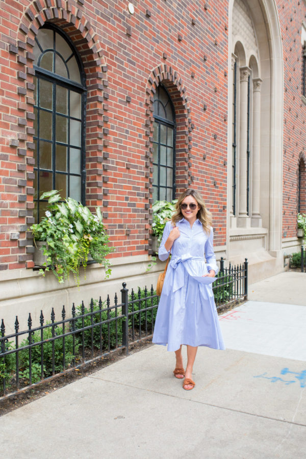 Jessica Sturdy wearing a midi shirtdress from the Nordstrom 1901 line.