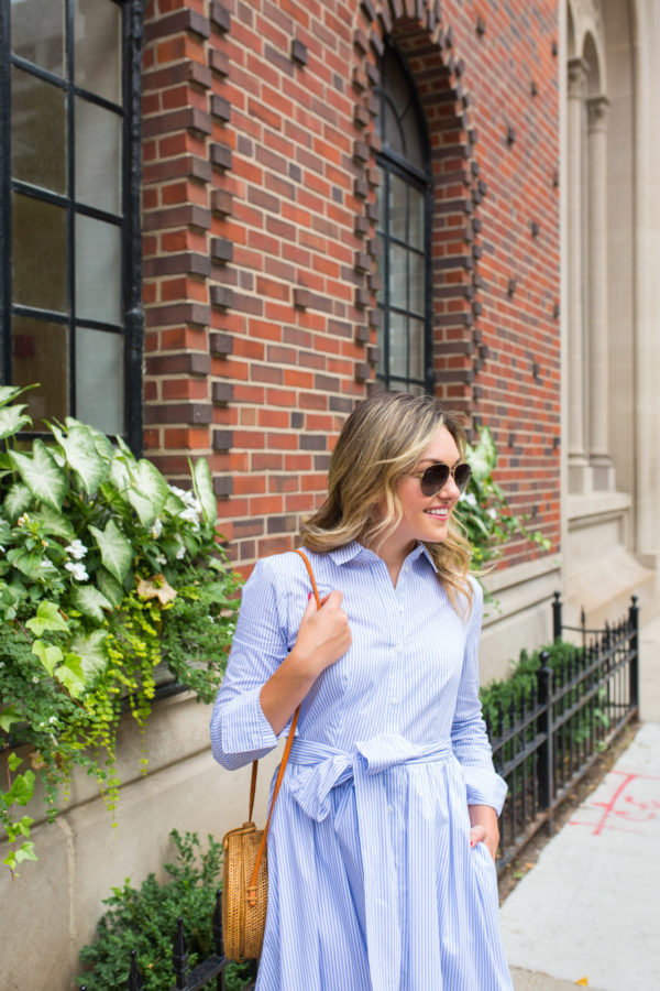 Jessica Sturdy wearing a blue and white striped shirt dress.