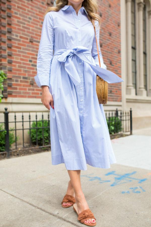 Jessica Sturdy wearing a midi dress with M.Gemi sandals.