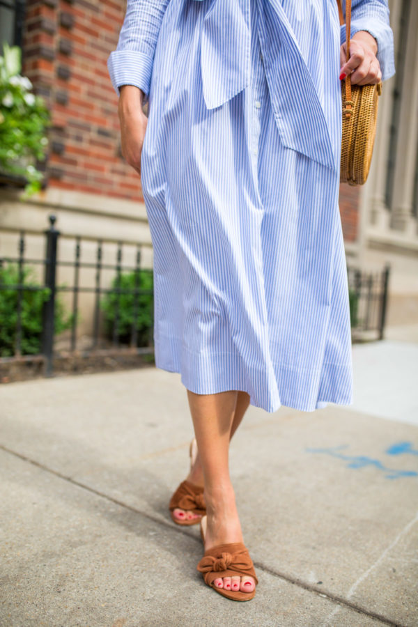 Jessica Sturdy wearing the M.Gemi Razzoli sandals with a mdid dress.