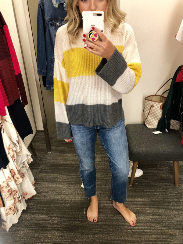 4402b90ebcd Nordstrom Anniversary Sale Favorite Purchases  BP Stripe Sweater Grey  Yellow and White