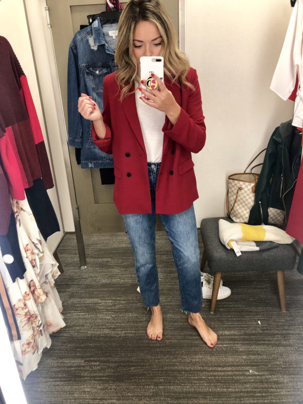 Jessica Sturdy in the Nordstrom dressing room wearing a red Topshop blazer and straight leg cropped jeans.