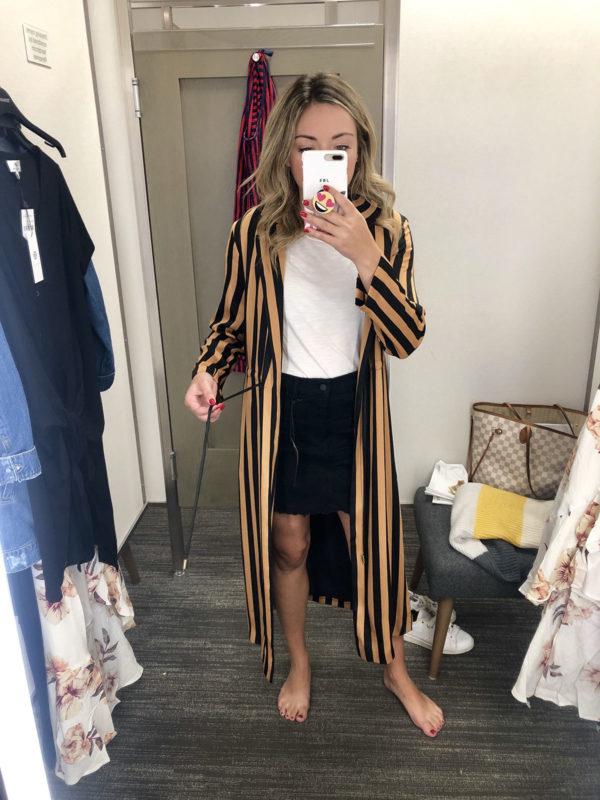 Topshop Striped Silk Long Jacket