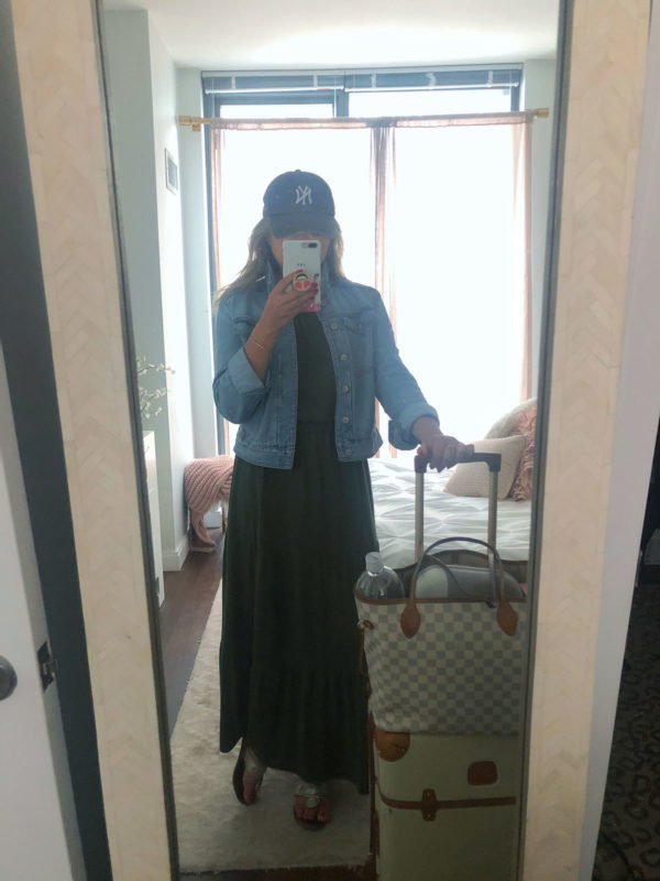 Travel outfit denim jacket maxi dress yankees hat