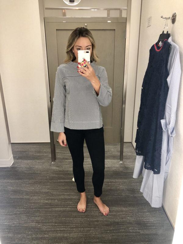 Nordstrom Fitting Room Try On Rag & Bone Skinny Jeans J.Crew Striped Oxford Shirt