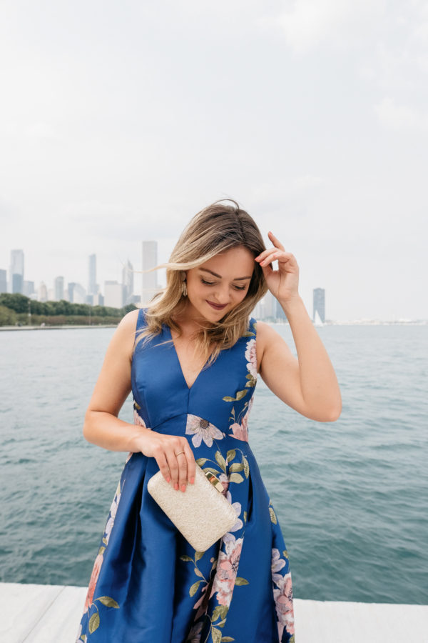 Beauty blogger Bows & Sequins wearing an Eliza J dress from Nordstrom.