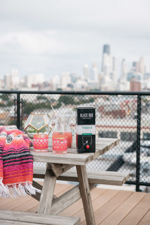 Chicago lifestyle blogger Jessica Sturdy makes a delicious spicy watermelon margarita on a Chicago rooftop with great skyline views.