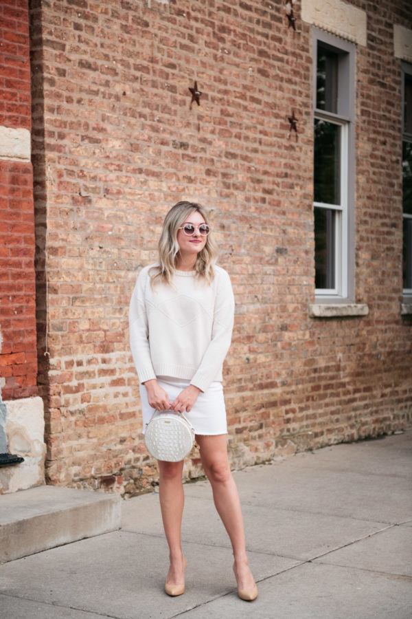Bows & Sequins wearing a Goat Fashion sweater, Vineyard Vines denim skirt, Brahmin handbag, and Inez comfortable heels.