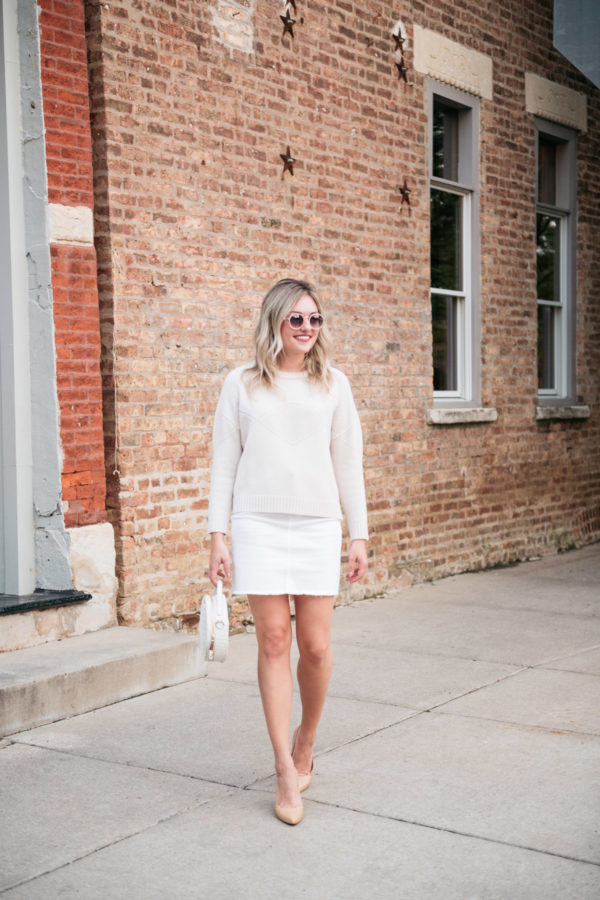Chicago fashion blogger Bows & Sequins wearing a Goat Fashion sweater, Vineyard Vines skirt, Brahmin round handbag, and Inez heels that are very comfortable!