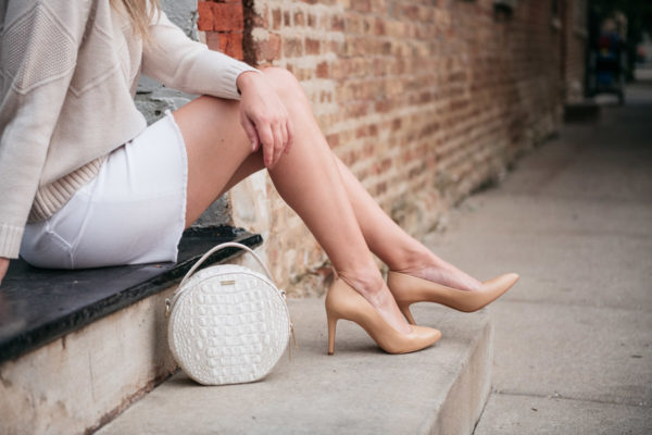 Chicago fashion blogger Bows & Sequins wearing the Inez Alta heels in Almond Napa Leather.