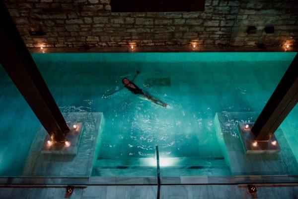Bows & Sequins in the Flotarium salt bath at AIRE in Chicago.