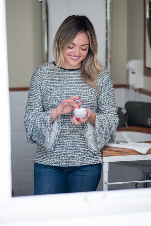 Women's lifestyle blogger Jessica Sturdy of Bows & Sequins reviewing the best drugstore moisturizer.