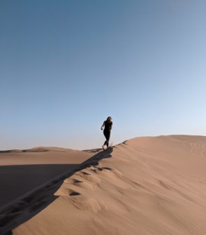 Jessica Sturdy in the Huacachina sand dunes in Peru on a Remote Year weekend track.