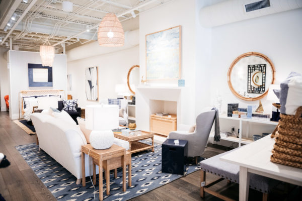 Chicago influencer Bows & Sequins at Serena & Lily store on Armitage Street  in Chicago