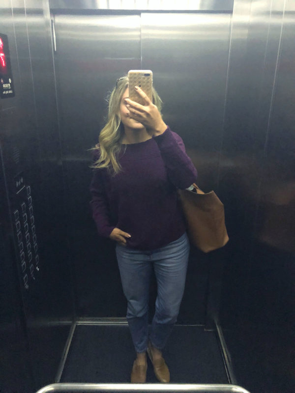 Purple Halogen sweater, Mott & Bow mom jeans, leather slip-on loafers, leather Cuyana tote.