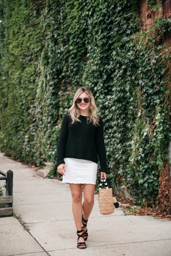 Chicago fashion blogger Jessica Sturdy wearing a black sweater with a white denim skirt, black aviators, M.Gemi sandals, and a Kayu straw bag.