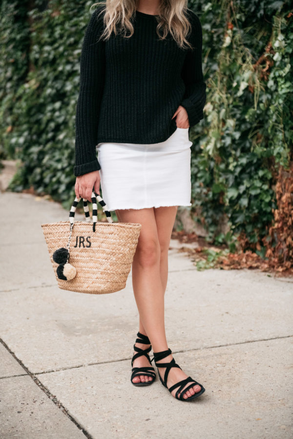 Chicago style blogger Jessica Sturdy of Bows & Sequins wearing a white denim skirt with a monogrammed straw tote by Kayu Designs.