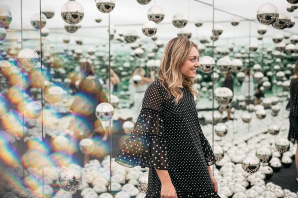 Chicago fashion lifestyle blogger Jessica Sturdy of Bows & Sequins in the Infinity Mirrors room.