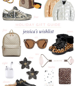 Fashion blogger Jessica Sturdy of Bows & Sequins shares what's on her personal wish list this holiday season: Leopard Golden Goose Sneakers, Gucci furry loafers, J.Crew Leopard Nordic Boots, a metallic puffer jacket, an MZ Wallace book bag, and a few sparkly accessories.