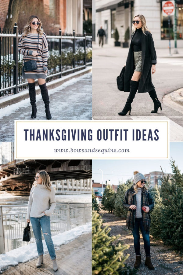 Style influencer Jessica Sturdy of Bows & Sequins shares twenty two of her favorite outfits for Thanksgiving weekend.