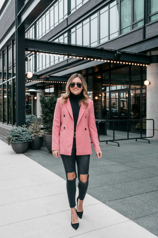 Jessica Sturdy styling a pink blazer for work in the winter months.
