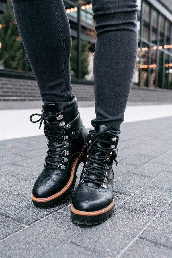 Fashion blogger Bows & Sequins styling a pair of black Indigo Rd booties.
