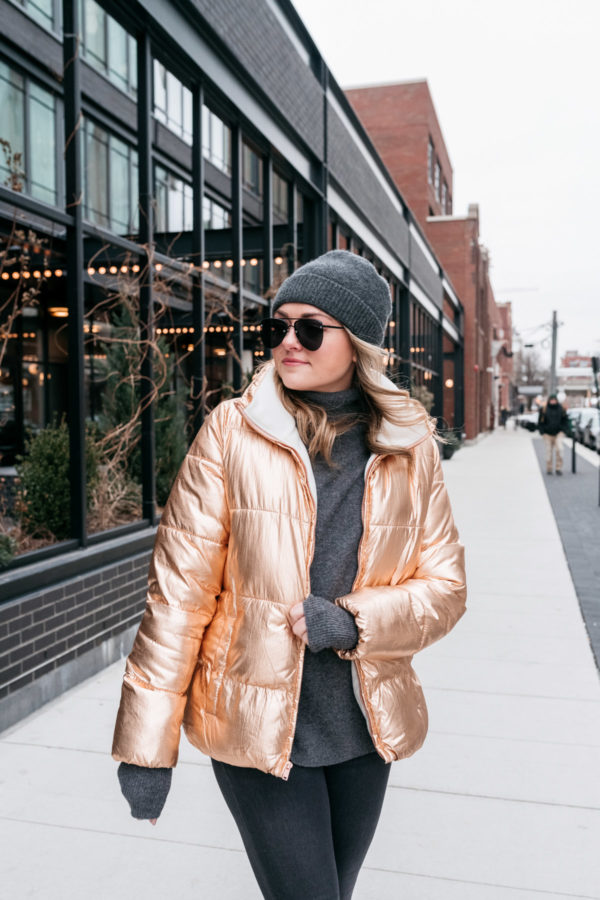 121b54bf3 Chicago-based fashion blogger Jessica Sturdy wearing a metallic coat with  Le Specs Matte Black