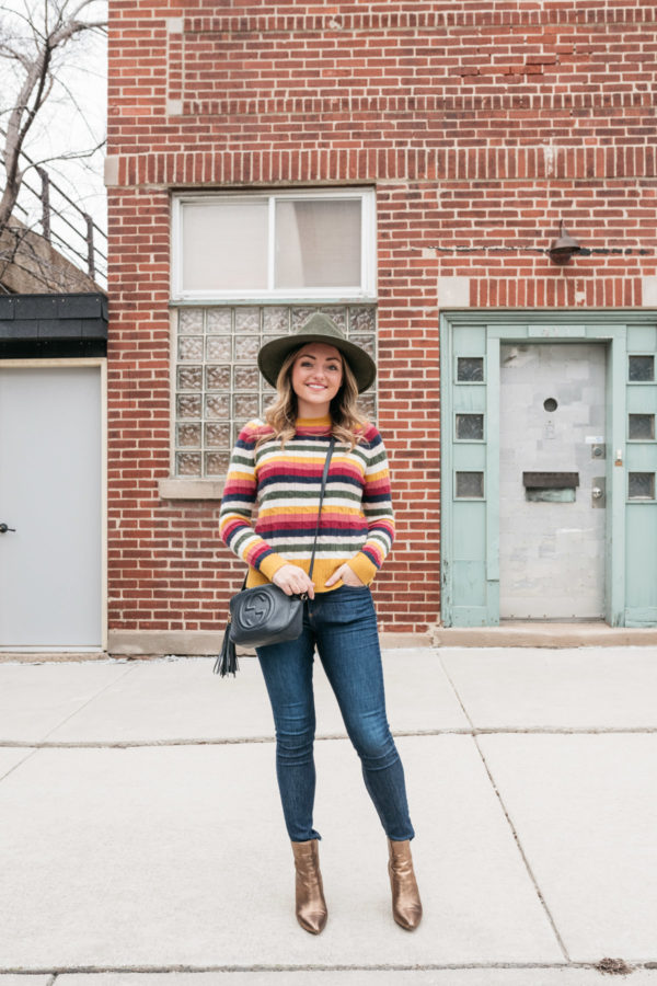 Chicago personal stylist Jessica Sturdy wearing an olive green Barbour hat with a striped sweater, Gucci bag, Rag & Bone skinnies, and metallic bronze ankle booties.
