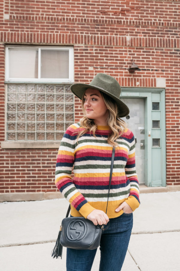 Chicago blogger Jessica Sturdy wearing a Barbour fedora hat and Gucci navy blue crossbody bag.