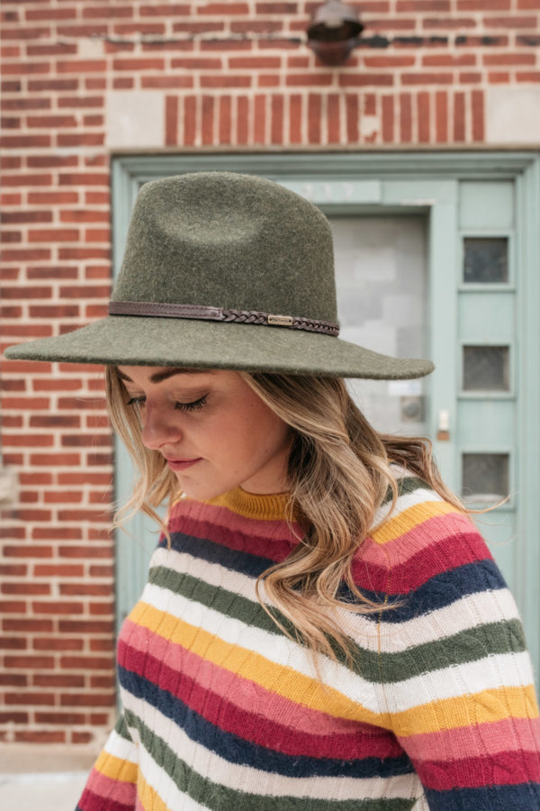 Women's fashion blogger wearing a Barbour Tack Fedora in olive green.