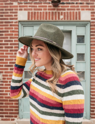 Fashion blogger Jessica Sturdy wearing an olive green Barbour Tack Fedora with a colorful striped cashmere sweater in Chicago.