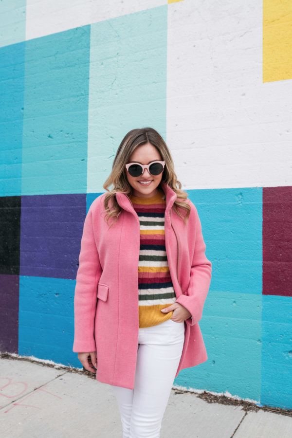 Chicago-based street style blogger Bows & Sequins wearing a pink J.Crew Cocoon Coat.