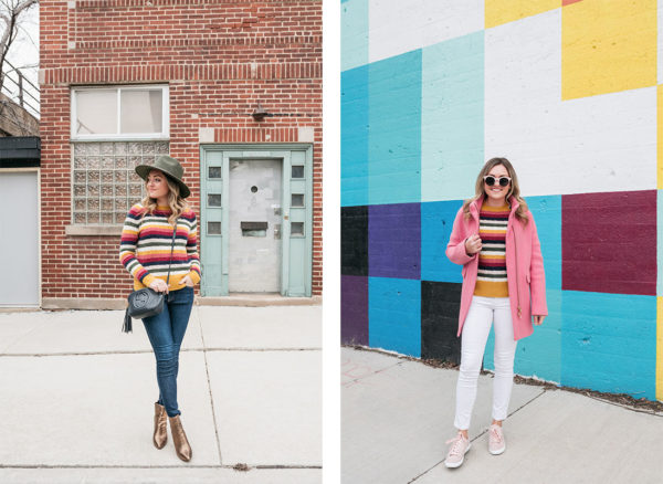 Chicago stylist Jessica Sturdy shows how to wear a colorful striped cashmere sweater with two totally different winter outfits.