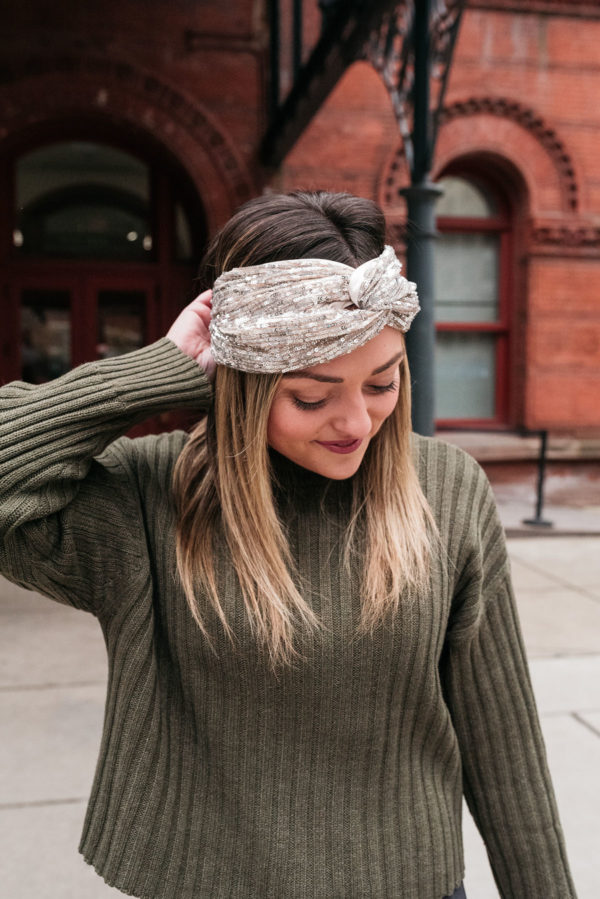 Chicago personal stylist Jessica Sturdy wearing a sequin headband.