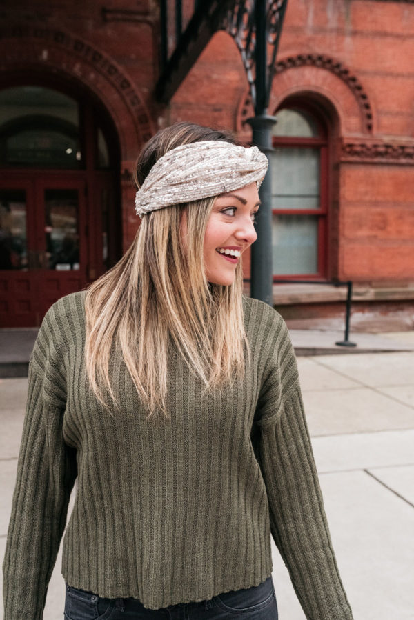 Chicago wardrobe stylist and personal shopper Jessica Sturdy styling a sequin headband.