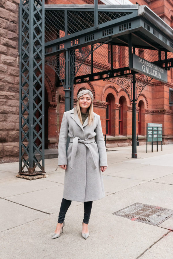 Chicago fashion and lifestyle blogger Bows & Sequins styling a Claudie Pierlot grey wool coat and a Zara sequin headband.