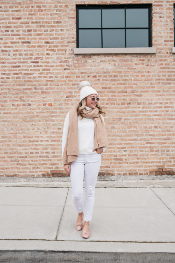 Jessica Sturdy shares how to style white jeans in the winter.