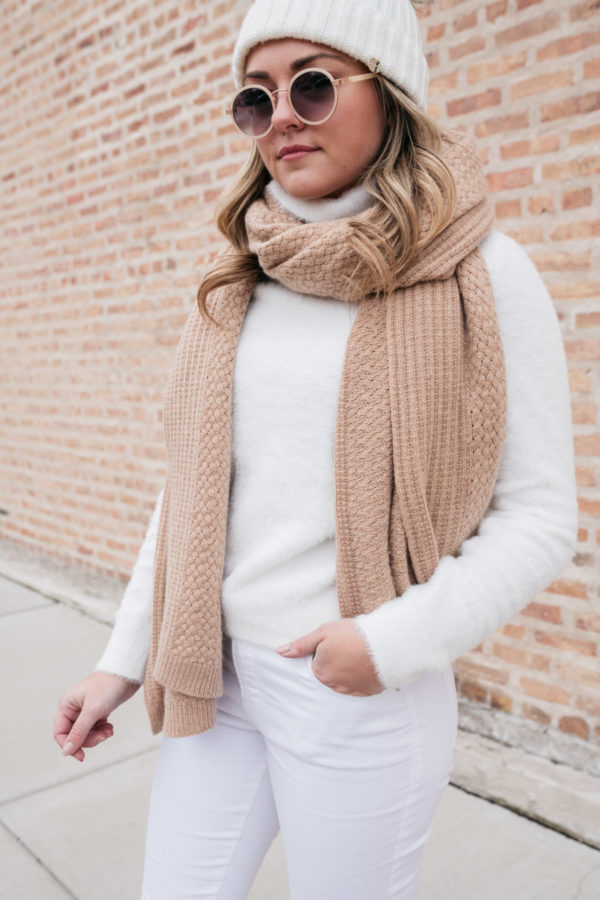 Chicago blogger Jessica Sturdy styles a fuzzy turtleneck and a cashmere blanket scarf.