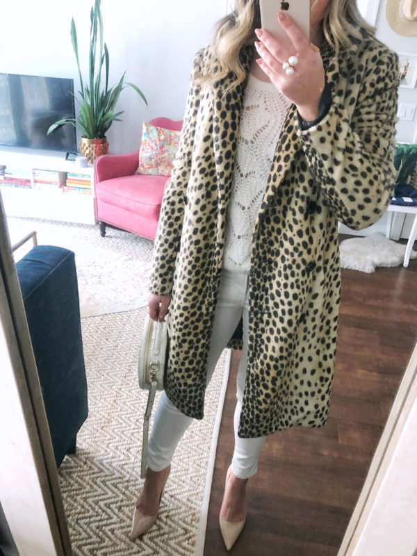 Chicago fashion blogger Jessica Sturdy styling a By Malene Birger leopard coat with a cream pointelle sweater, white jeans, nude Kate Spade pumps, and a round circle bag.