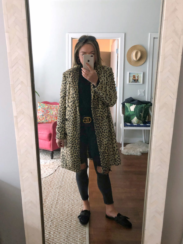 Bows & Sequins styling a leopard print By Malene Birger coat with a leopard belt.