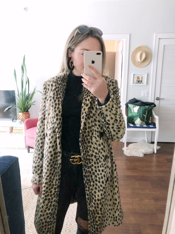 Bows & Sequins styling a black and gold Gucci belt with a leopard print coat.