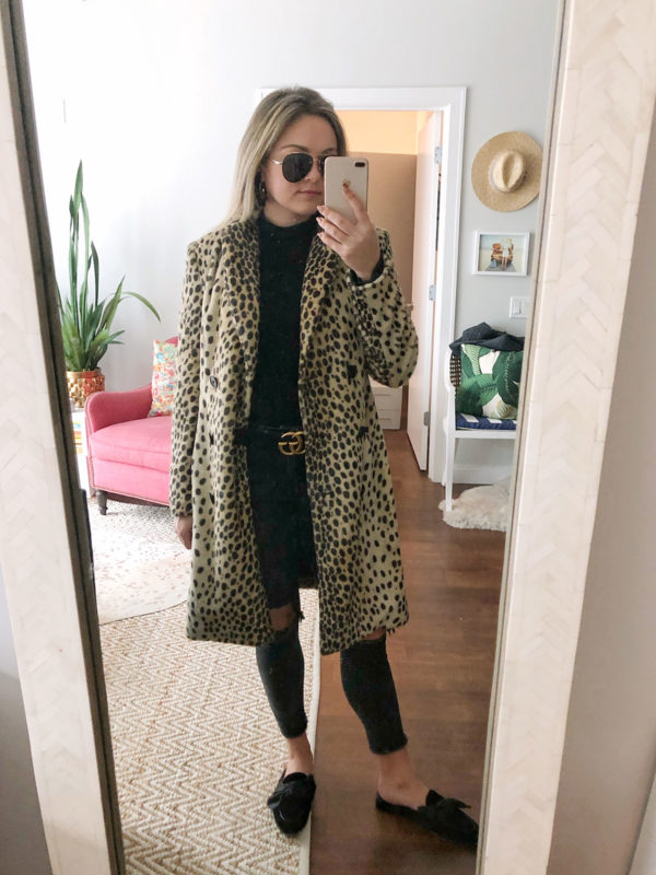 Bows & Sequins styling a long leopard coat by Malene Birger and a Gucci belt with black ripped jeans.