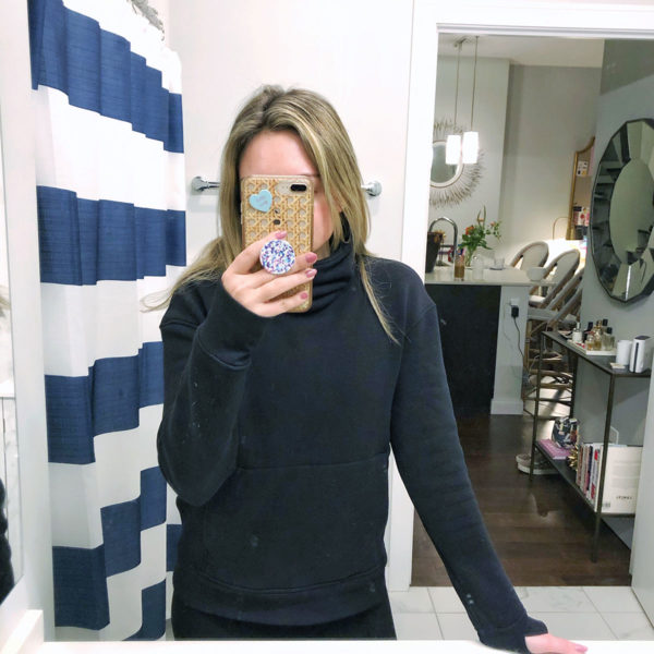 Bows & Sequins wearing a scuba-knit turtleneck sweatshirt from Lululemon.