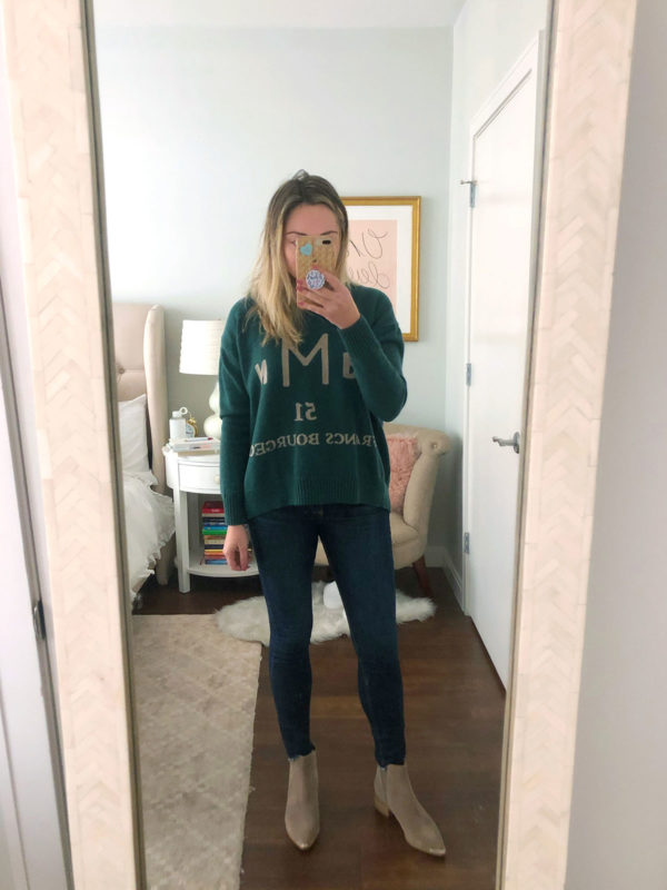 Bows & Sequins wearing an MDN sweatshirt, rag & bone skinny jeans, and Marc Fisher ankle booties.