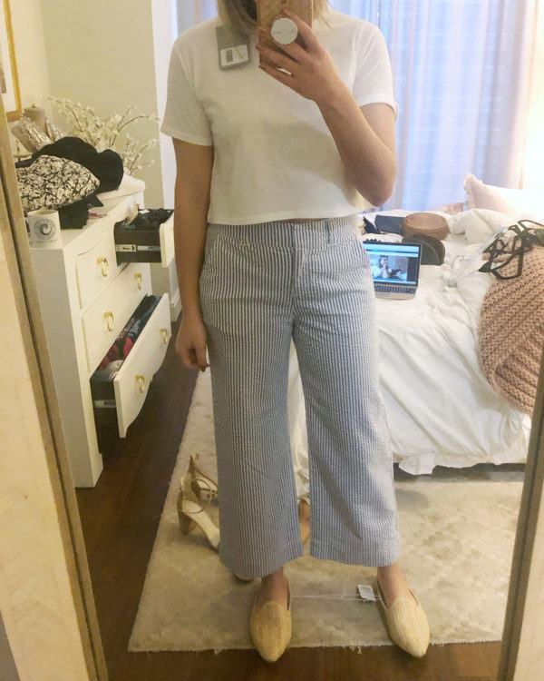 seersucker pants cropped tee outfit