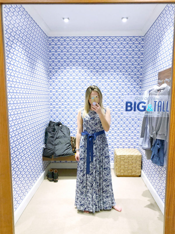 Chicago lifestyle blogger Bows & Sequins wearing a Vineyard Vines printed maxi dress.