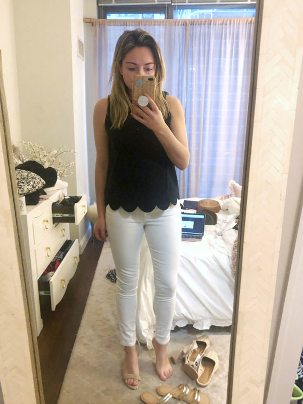 scalloped tank top with white jeans outfit