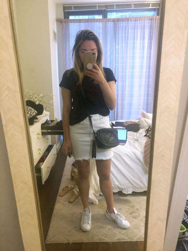 White Denim Skirt and Stan Smiths Outfit