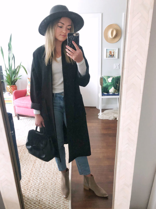 Chicago fashion blogger Bows & Sequins styling a black Janessa Leone hat with a black duster coat, mom jeans, and Marc Fisher booties.