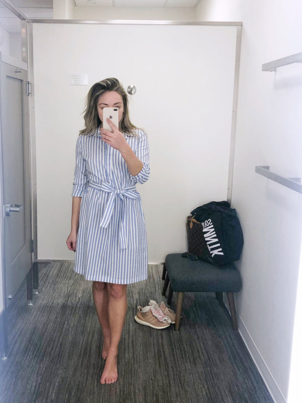 Fashion blogger styling a blue and white striped shirtdress at Nordstrom
